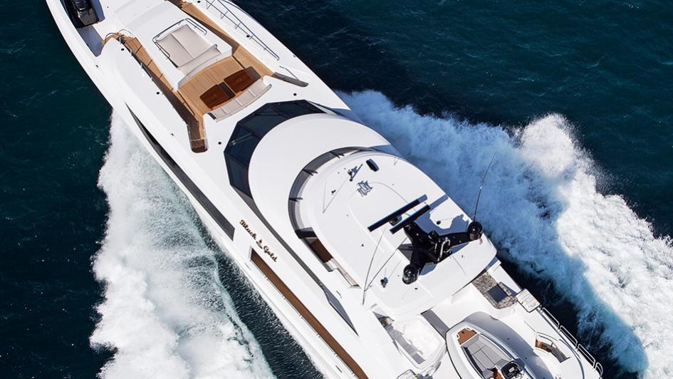 black gold motoryacht westport 125 aerial view credit scott pearson