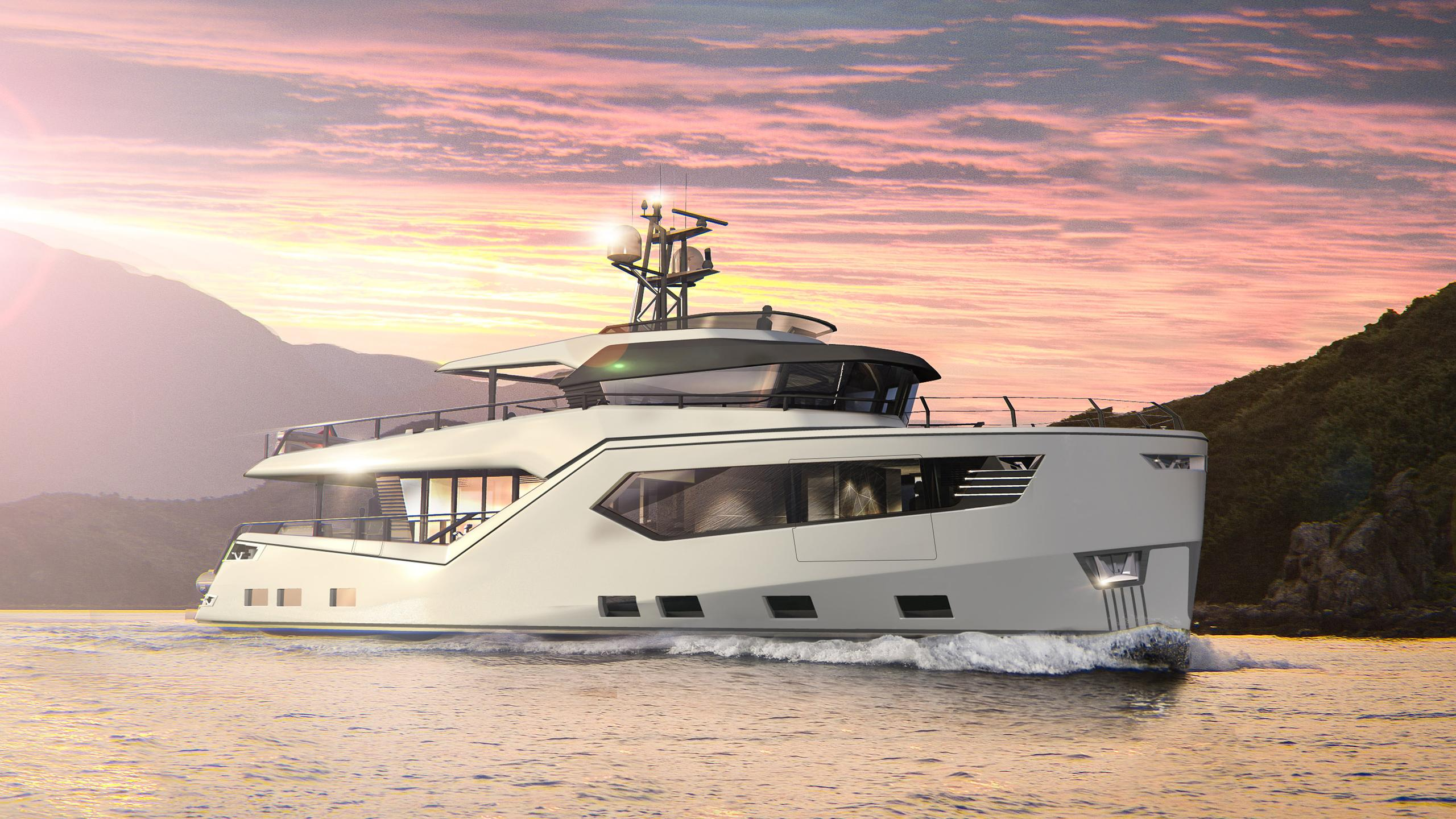 rock motoryacht evadne yachts 24m 2018 rendering half profile