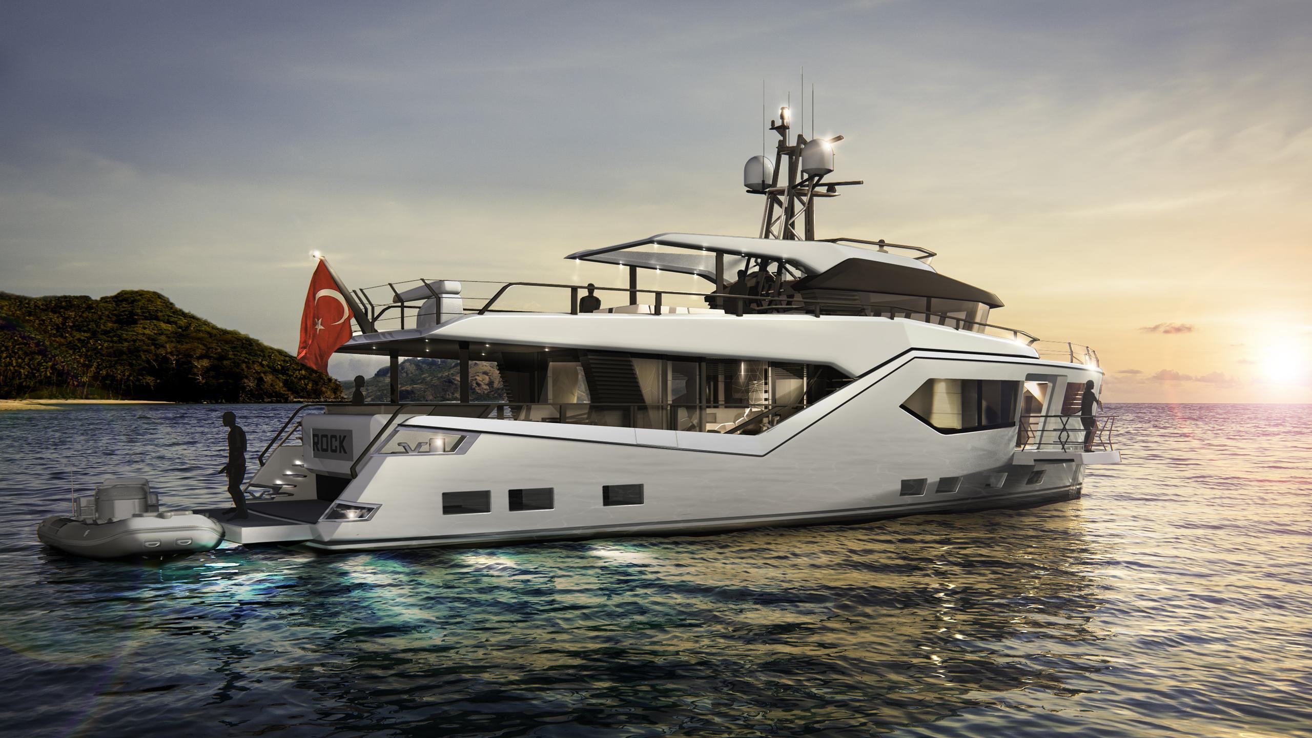 rock motoryacht evadne yachts 24m 2018 rendering half stern