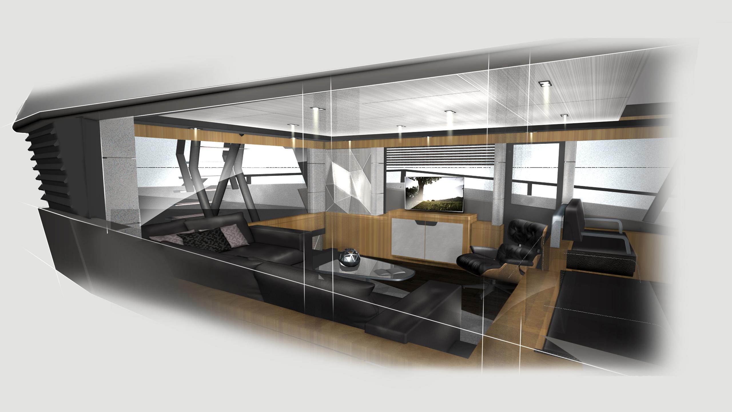 rock motoryacht evadne yachts 24m 2018 rendering skylounge