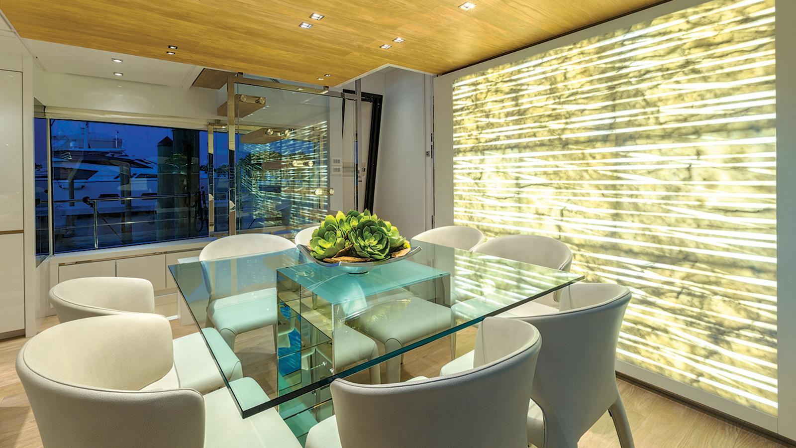 hull 651 motoryacht sanlorenzo sl86 27m 2016 dining area credit jim raycroft
