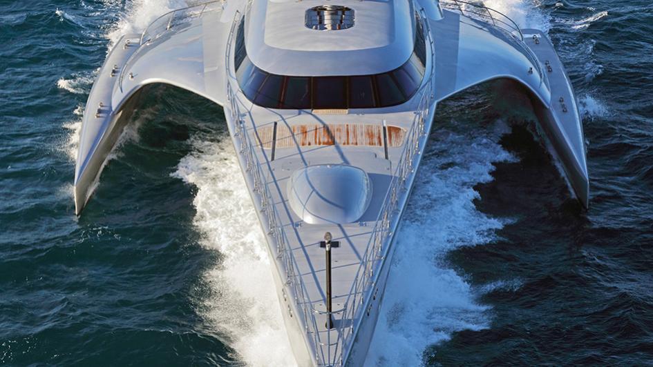 galaxy of happiness trimaran yacht latitude 2016 53m cruising bow