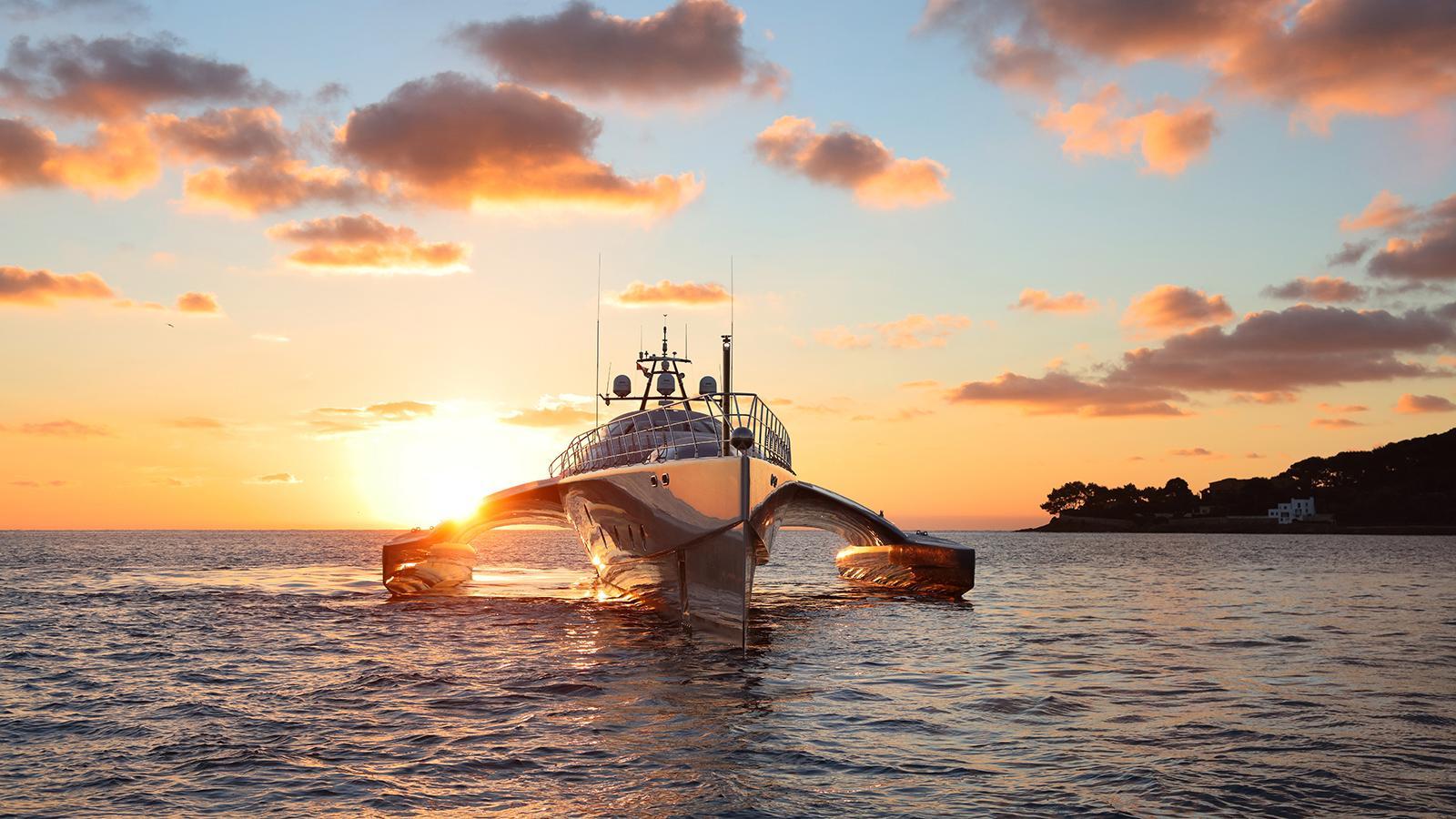 galaxy of happiness trimaran yacht latitude 2016 53m bow sunrise
