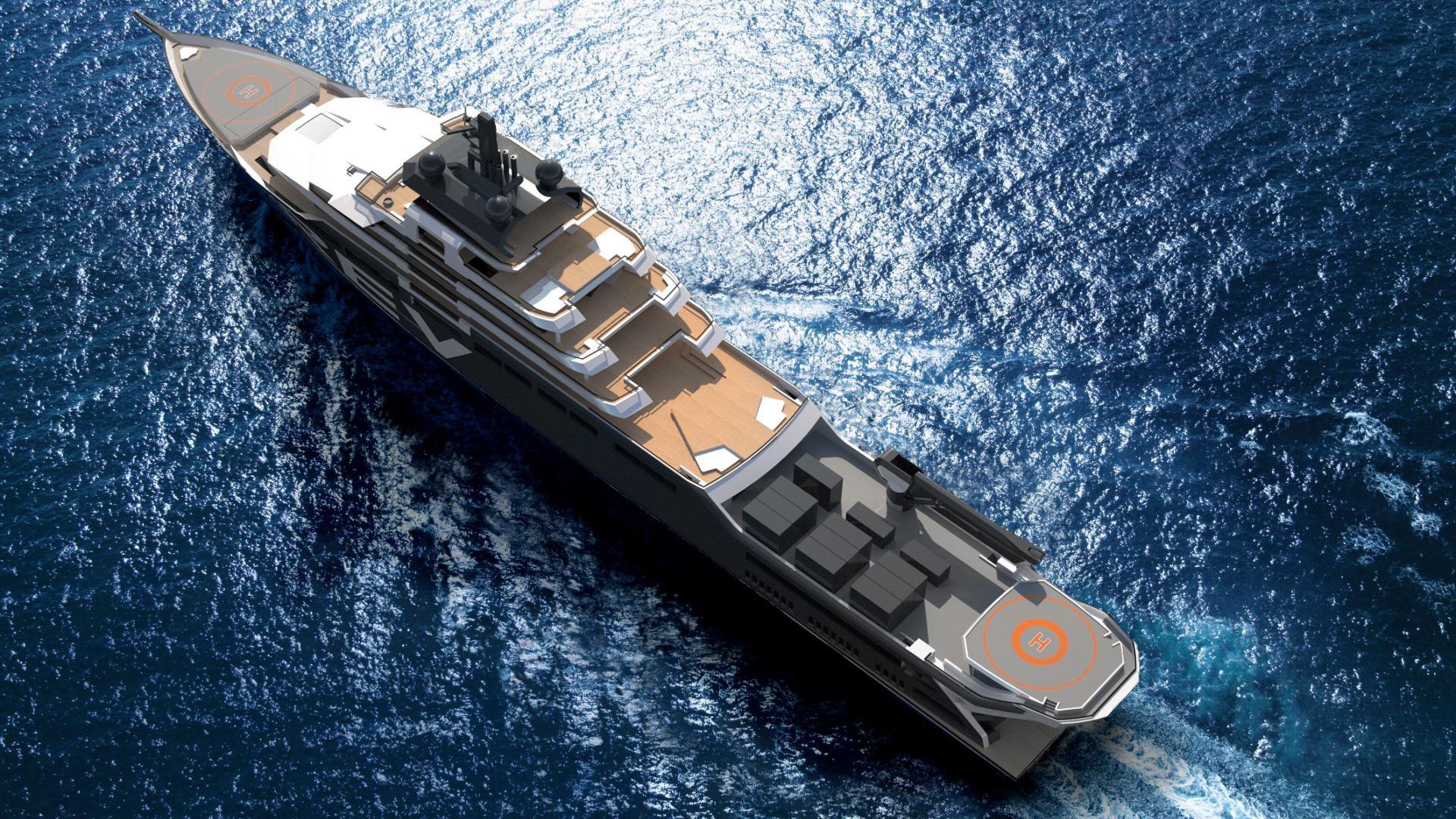 rev motoryacht vard 182m 2020 rendering aerial