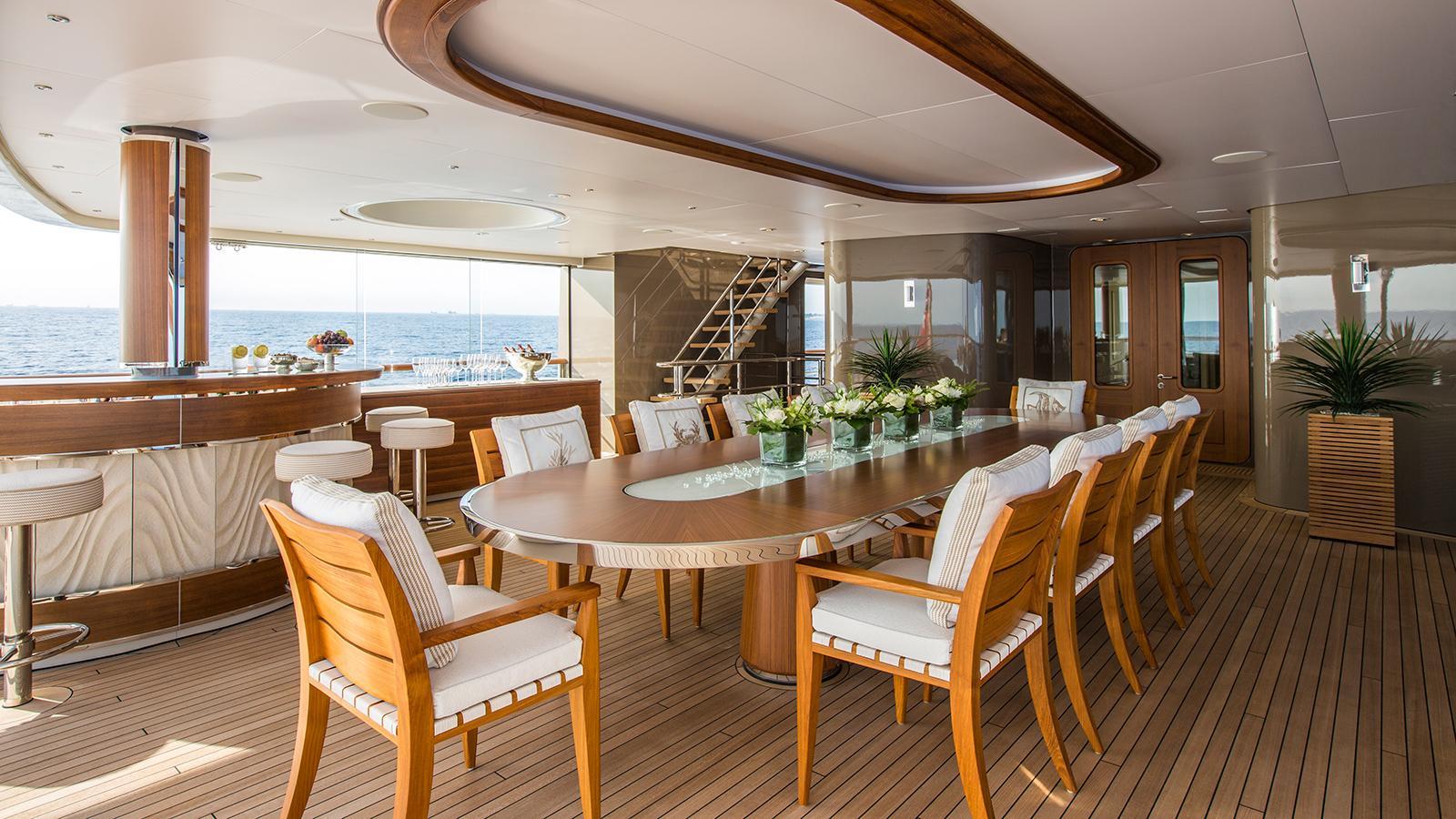 polar star explorer yacht lurssen 2005 65m aft deck dining