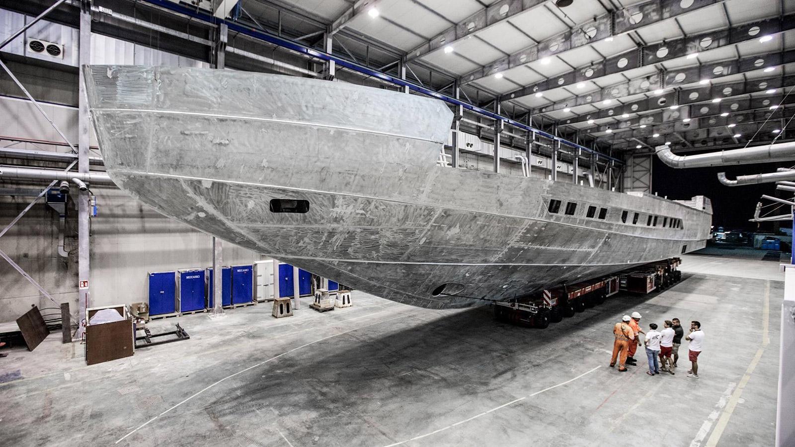 pershing 140 motoryacht pershing yachts 43m 2018 under construction shed
