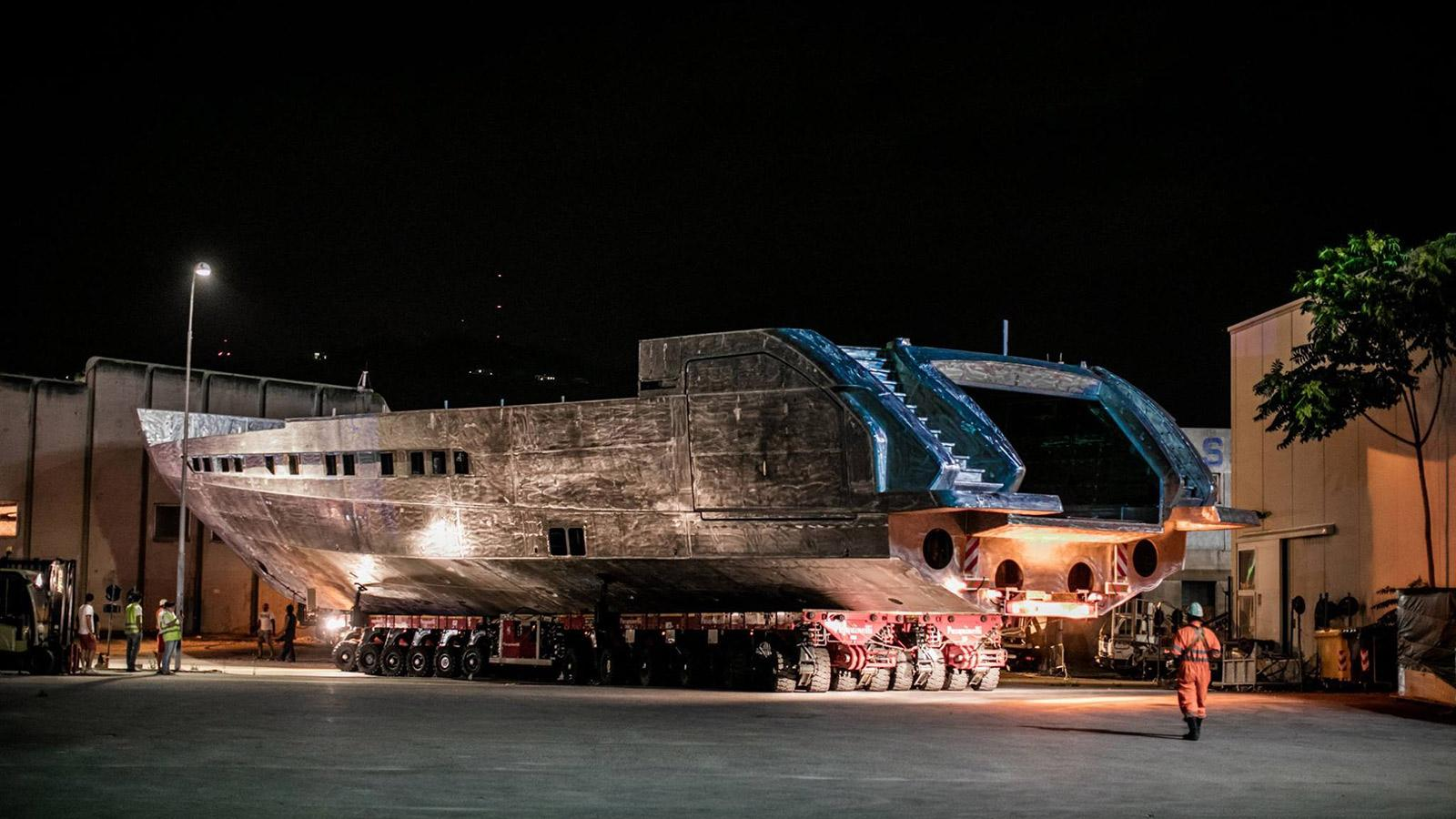 pershing 140 motoryacht pershing yachts 43m 2018 under construction hull half stern