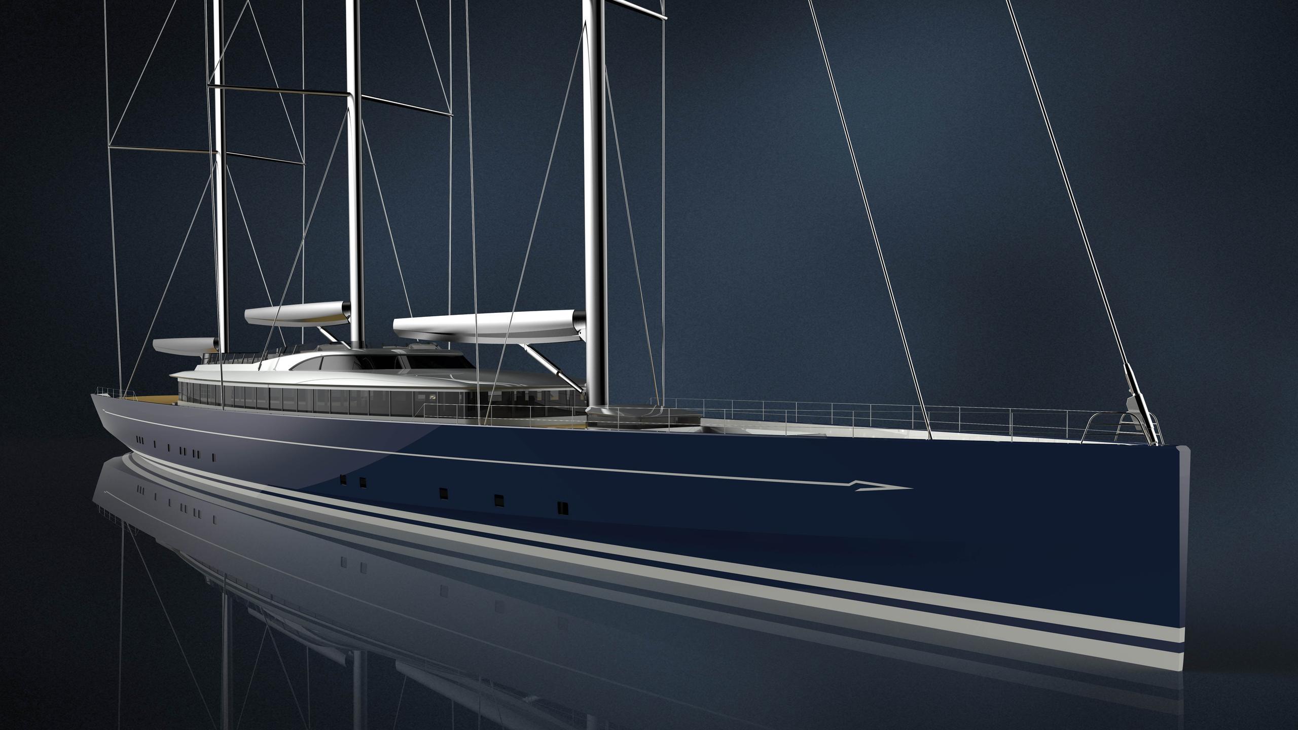 rh400 sailing yacht royal huisman 81m 2020 rendering half profile