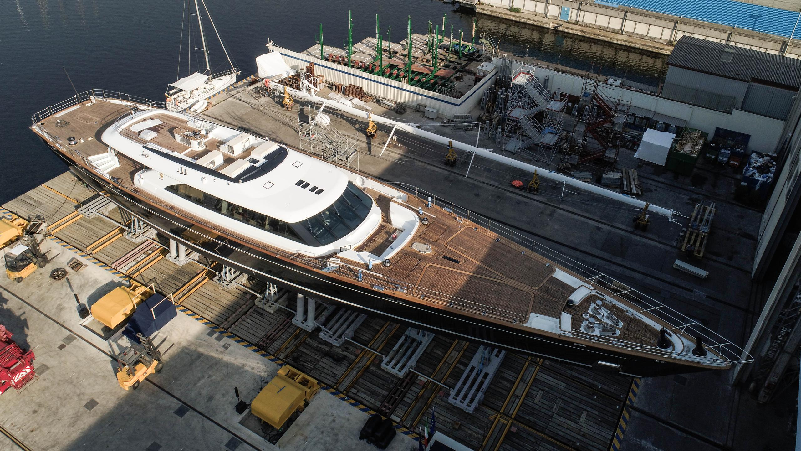 seven sailing yacht perini navi 60m 2017 launch aerial half profile