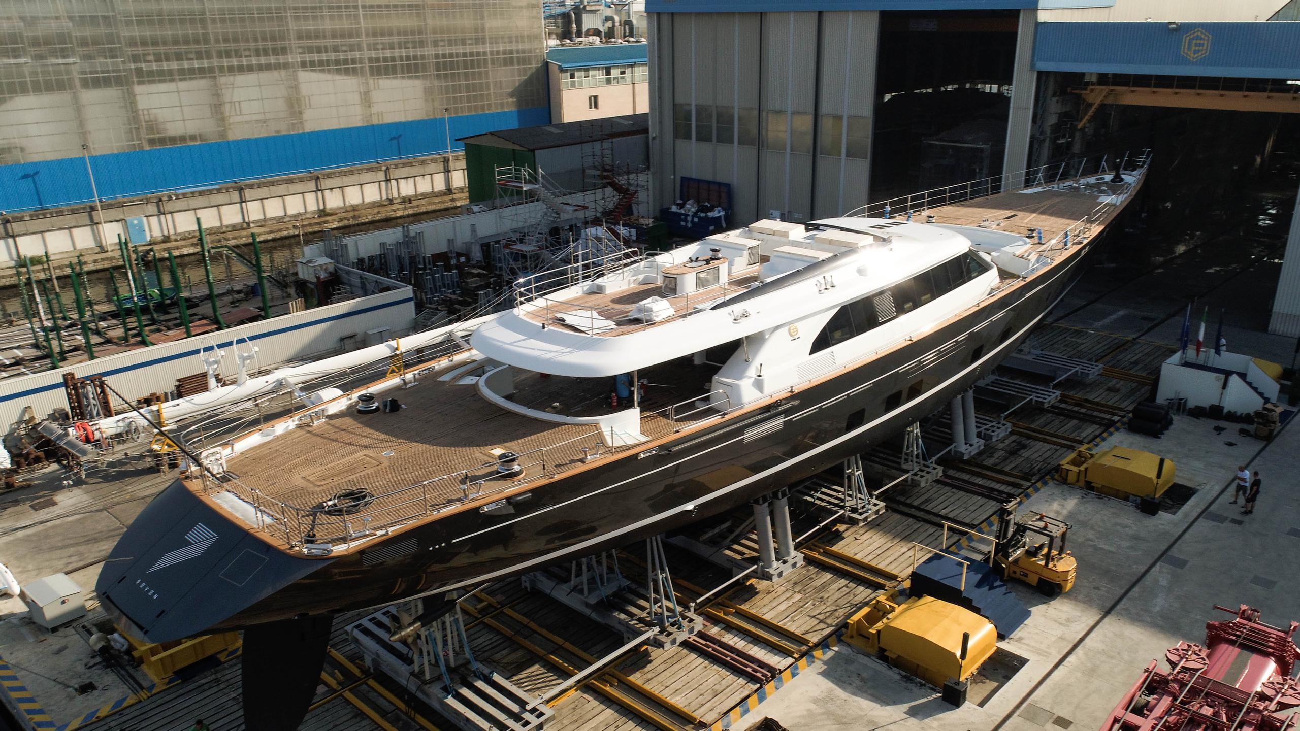 seven sailing yacht perini navi 60m 2017 launch aerial half stern