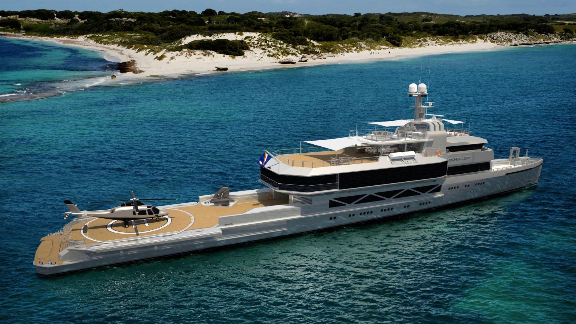 silver loft motoryacht silver yachts 85m 2019 rendering half stern