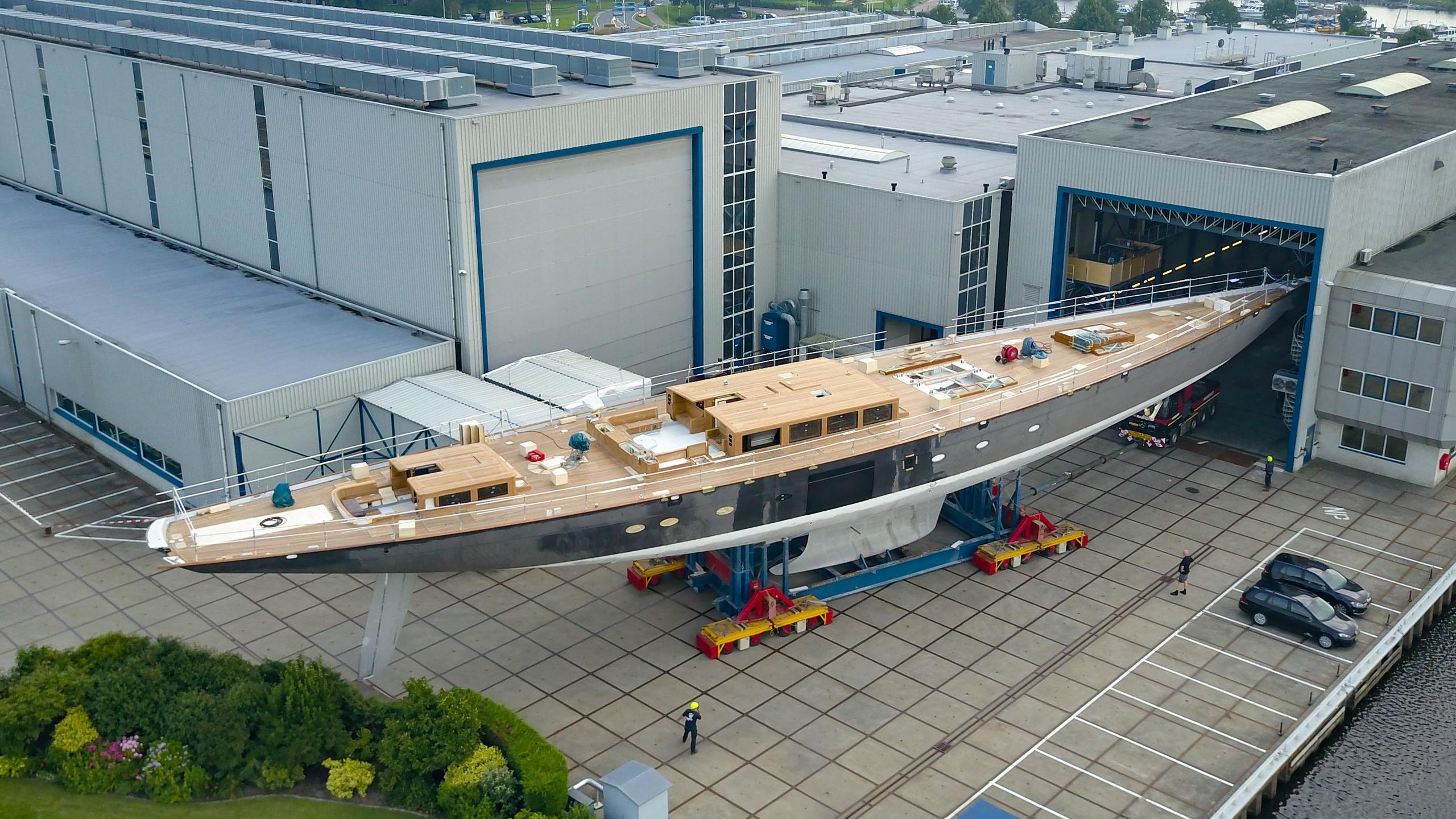 aquarius sailing yacht royal huisman 56m 2018 under construction aerial