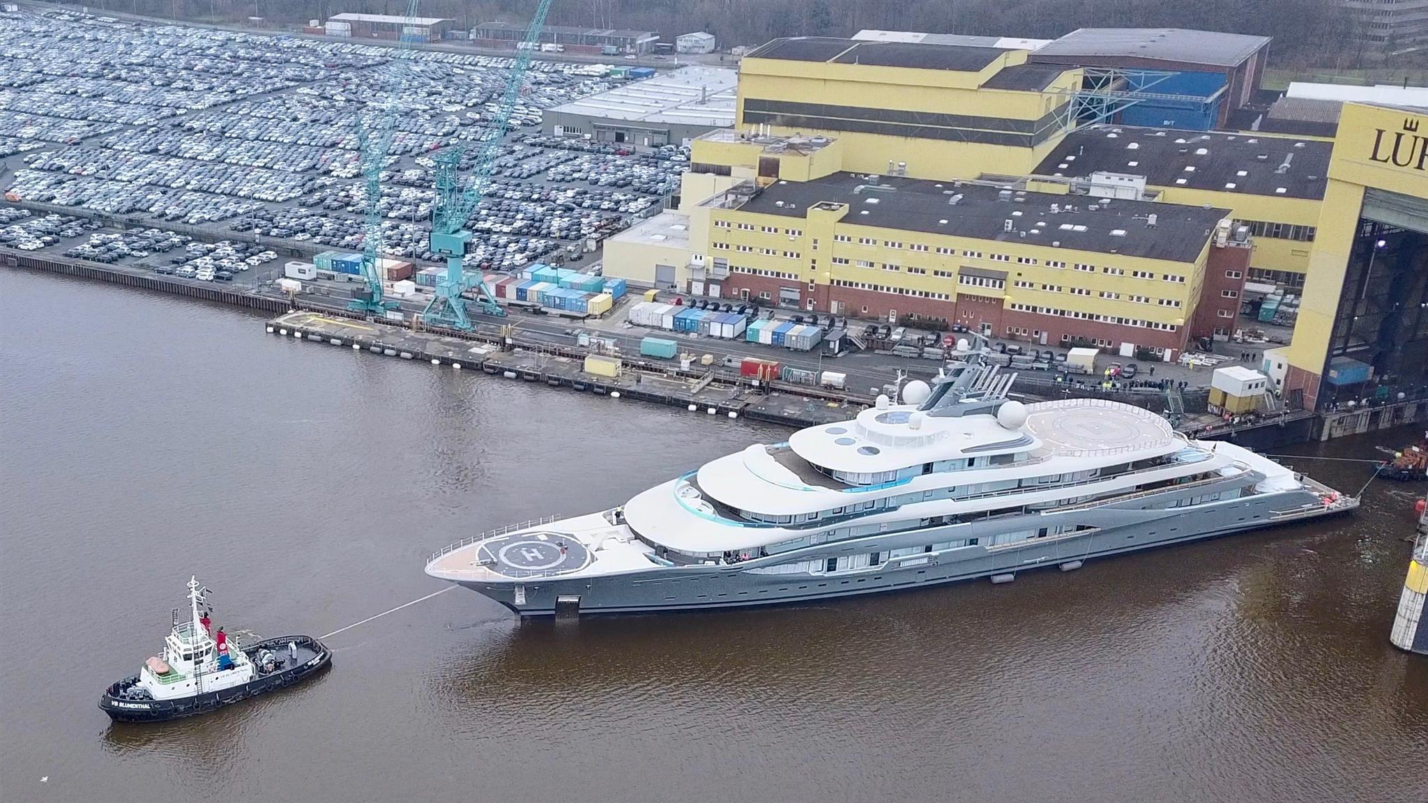 project shu motoryacht lurssen 136m 2018 launch aerial photo drduu