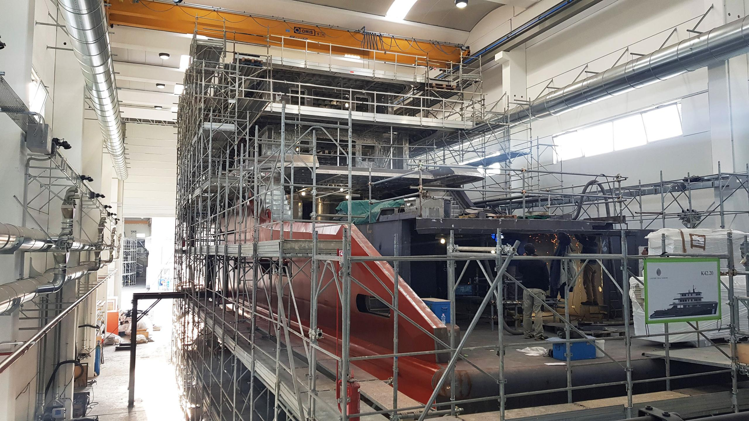audace k42 motoryacht cantiere delle marche 42m 2019 under construction stern
