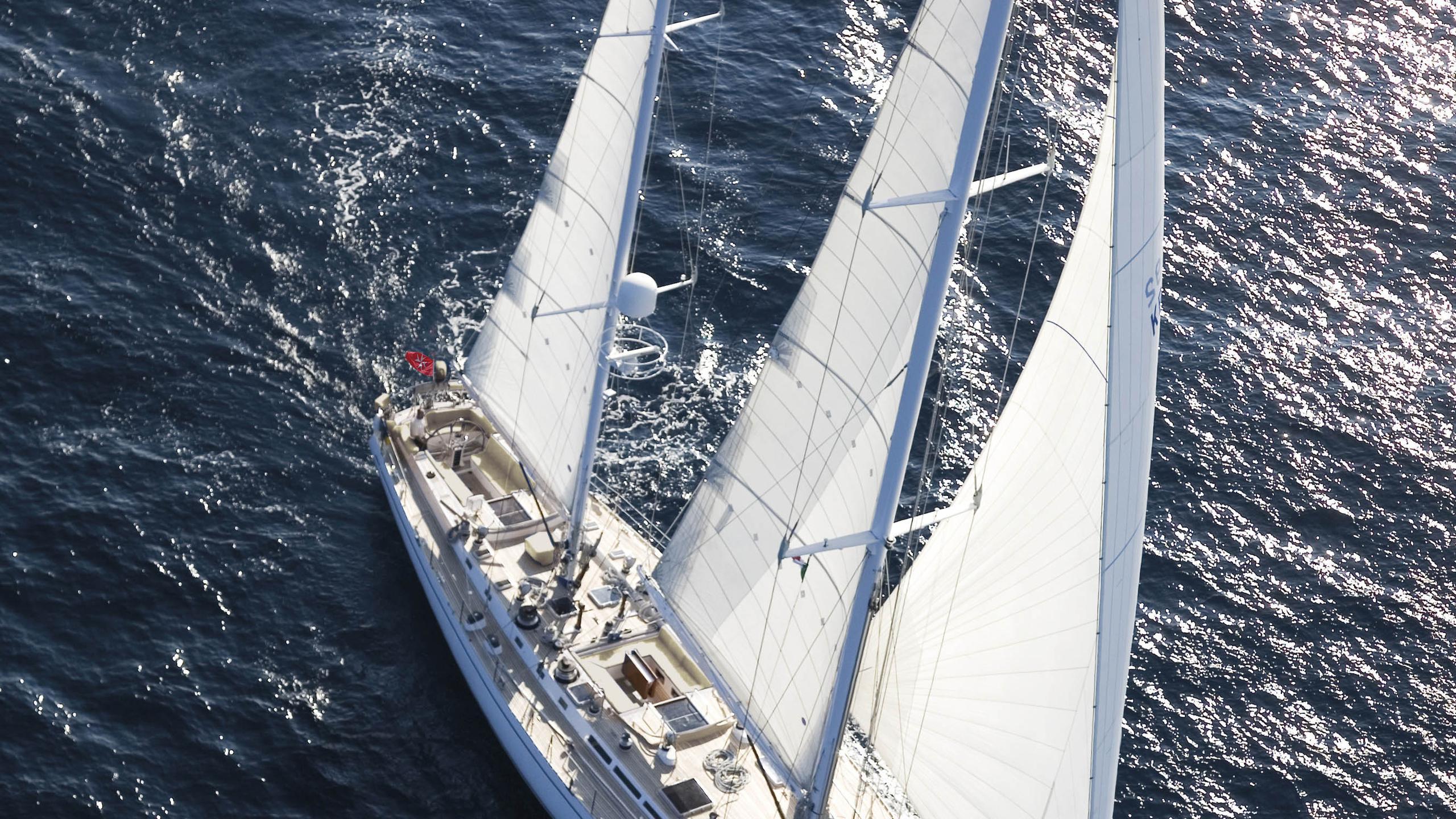 cyclos ii sailing yacht royal huisman 28m 1985 aerial