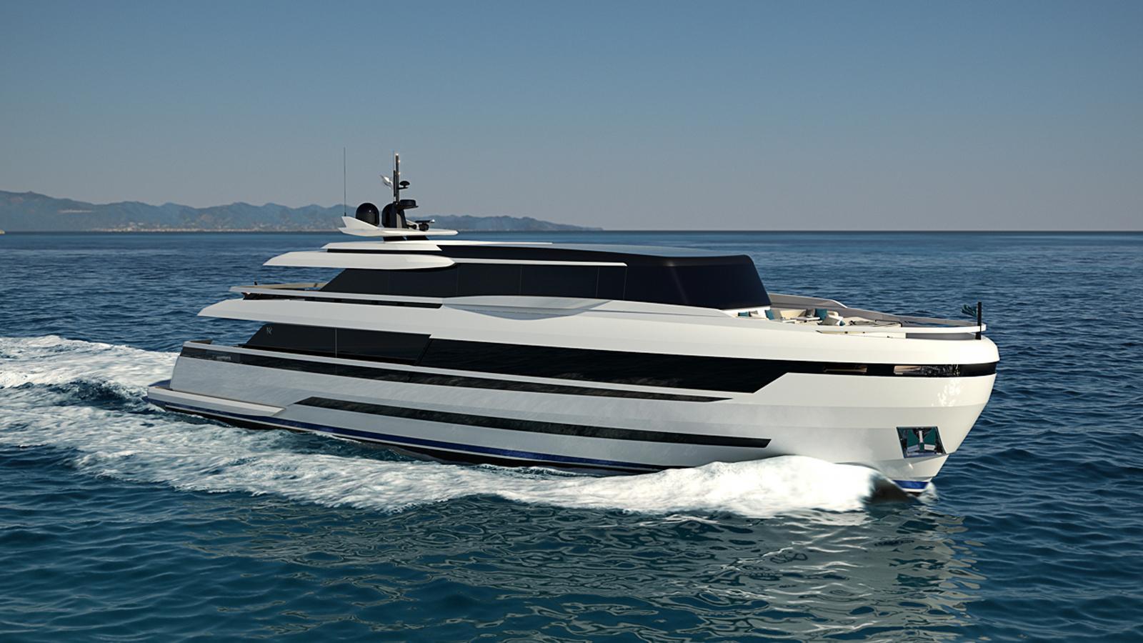 extra 126 motoryacht isa yachts 38m 2019 rendering half profile