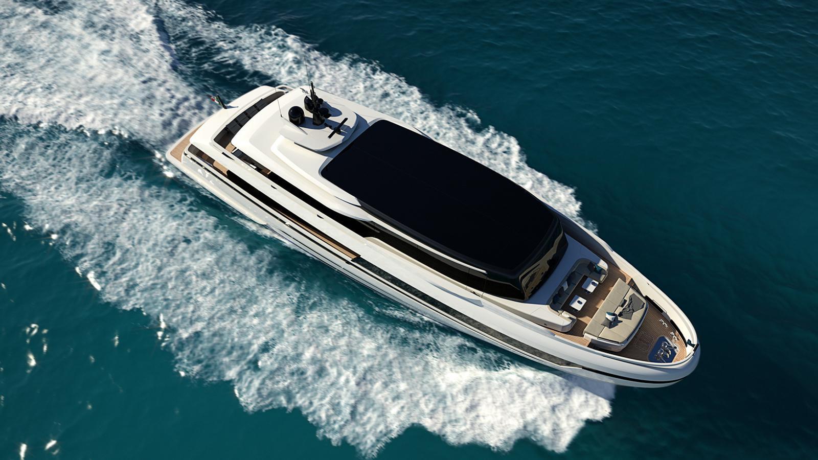 extra 126 motoryacht isa yachts 38m 2019 rendering half profile aerial