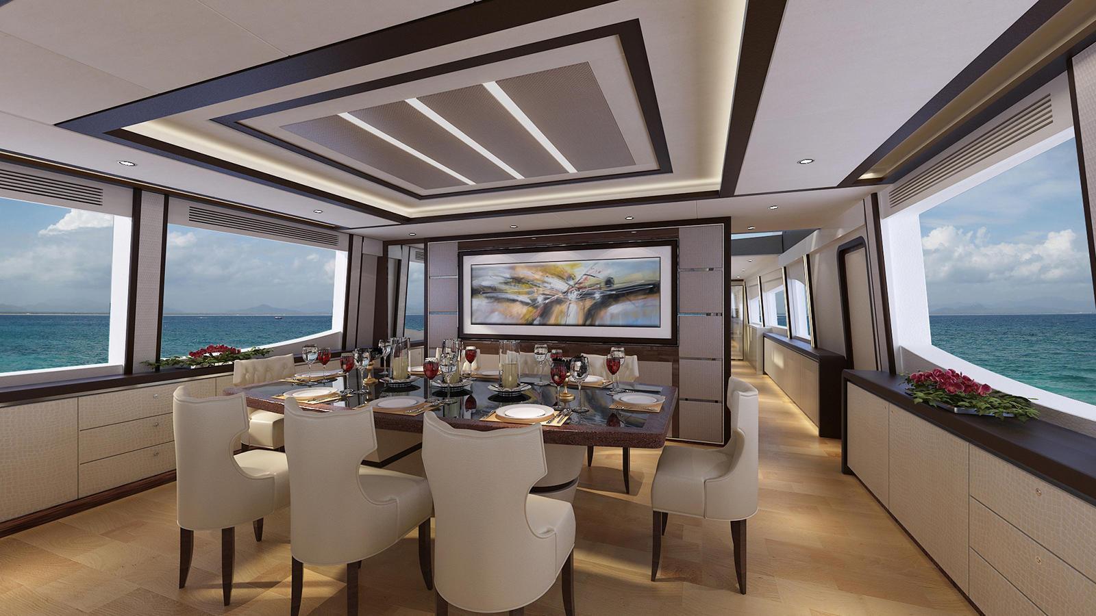Asteria 108 motoryacht HeySea Yachts 33m 2020 dining area sistership