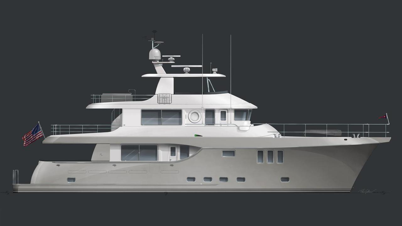 Nordhavn 80 motoryacht South Coast Marine 24m 2021 side profile sistership